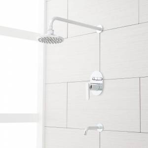 "Signature Hardware 931420-6-15.5-1.8 Wingfield Pressure Balanced Tub and Shower Trim Package with 6"" Rain Shower Head - Rough In Included Chrome"