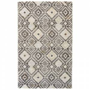 Delacora FZ-BRNI-BLTA-REC-5X8 Balta 5' x 8' Wool Hand Tufted Moroccan & Tribal Rectangular Area Rug From the Brunei Collection Fossil Gray / Pastel  - Fossil Gray,Pastel