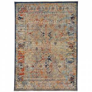 Delacora FZ-PDNG-JPR-REC-8X11 Jaipur 7-1/2' x 10-1/2' Traditional Rectangular Area Rug From the Padang Collection Carbon / Rust Home Decor Rugs Area  - Carbon,Rust