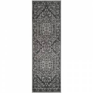 Safavieh ADR108-28 Adirondack 3' X 8' Runner Synthetic Power Loomed Traditional Silver / Black Home Decor Rugs Runners  - Silver,Black