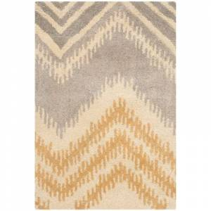 Safavieh CPR445-2 Capri 2' x 3' Rectangle Wool Hand Tufted Stripes Area Rug Grey / Gold Home Decor Rugs Throw Rugs  - Grey,Gold