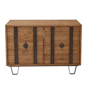 """Delacora HM-D192-100 Devine 44"""" Wide 1 Shelf Hardwood Metal and Veneer Accent Cabinet Light Oak Indoor Furniture Storage Accent Cabinet  - Light Oak"""