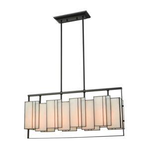 "Elk Lighting 72174/4 Stratus 4 Light 31"" Wide Linear Chandelier with Panels Of Bone Tiffany Style Glass Oil Rubbed Bronze Indoor Lighting Chandeliers"