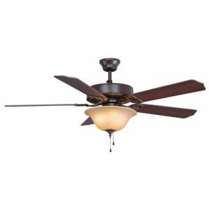 """Fanimation Aire Decor 52 Bowl Aire Decor 52"""" 5 Blade Indoor Ceiling Fan - Light Kit Included Oil Rubbed Bronze / Amber Fans Ceiling Fans Indoor"""