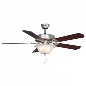 "Fanimation Aire Decor 52 Bowl Aire Decor 52"" 5 Blade Indoor Ceiling Fan - Light Kit Included Satin Nickel Fans Ceiling Fans Indoor Ceiling Fans"