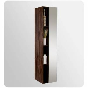 """Fresca FST8070 67"""" Freestanding Bathroom Linen Cabinet with Four Narrow Storage Shelves and Mirrored Door Walnut Bathroom Cabinets Linen Towers Linen  - Walnut"""
