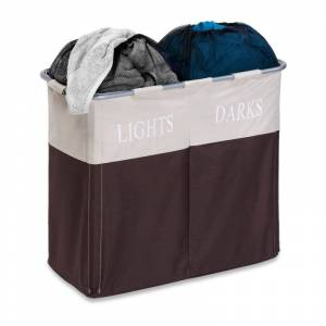 Honey-Can-Do HMP-01403 Dual Compartment Laundry Hamper Brown Storage and Organization Laundry Organizers Hampers
