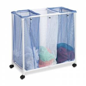Honey-Can-Do HMP-01629 Three Compartment Mesh Hamper with Drawstring on PVC Frame with Wheels White / Blue Storage and Organization Laundry Organizers  - White,Blue
