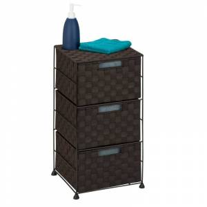 Honey-Can-Do OFC-03714 24 Inch Tall Woven Fabric 3-Drawer Storage Container Espresso Indoor Furniture Storage Nightstand  - Espresso