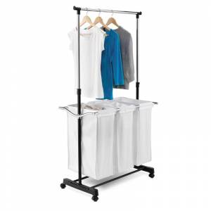 Honey-Can-Do SRT-01237 Three Compartment Sorter Laundry Center with Hanging Bar Chrome Storage and Organization Laundry Organizers Hampers