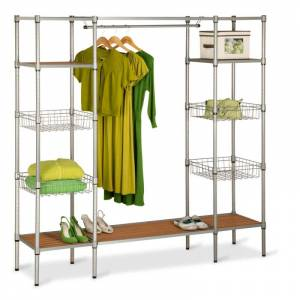 Honey-Can-Do WRD-02350 Freestanding Steel Closet with Basket Shelves Steel Storage and Organization Closet Organizers Closet Systems