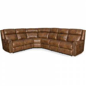 Hooker Furniture SS461-PS-185 123-1/4 Inch Wide Leather Sectional from the Esme Collection Caramel Indoor Furniture Sofas Sectional  - Caramel