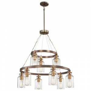 Minka Lavery 4559-588 9 Light 2 Tier Chandelier with Clear Glass Shades from the Morrow Collection Harvard Court Bronze w/ Gold Highlights Indoor