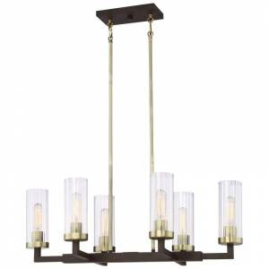 "Minka Lavery 3046-560 Ainsley Court 6 Light 30"" Wide Linear Chandelier Aged Kinston Bronze with Brushed Brass Indoor Lighting Chandeliers  - Aged Kinston Bronze with Brushed Brass"