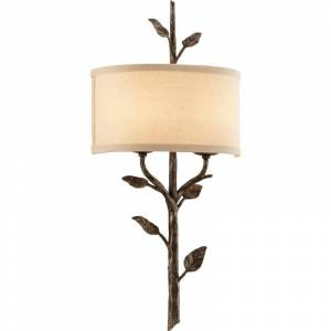 Troy Lighting B3182 Almont 2 Light Flush Mount Wall Sconce with Fabric Shade Bronze Leaf Indoor Lighting Wall Sconces Wall Washers  - Bronze Leaf