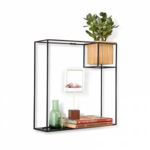 Umbra 470754 Cubist 15 Inch Tall Steel Wall Shelf with Beech Wood Planter by Erika Kovesdi Natural / Black Home Decor Wall Decor Shelves  - Natural,Black