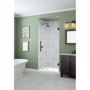 """Aston SDR997EZ-32-10 Kinkade 72"""" High x 32"""" Wide Hinged Frameless Shower Door with 32"""" Door Width and Clear Glass Oil Rubbed Bronze Showers Shower  - Oil Rubbed Bronze"""