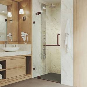 """Vigo VG604242 Pirouette 72"""" High x 42"""" Wide Hinged Frameless Shower Door with Clear Glass Clear / Oil Rubbed Bronze Showers Shower Doors Hinged  - Clear,Oil Rubbed Bronze"""