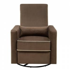 "Delacora HM-A726-006 31"" Wide Upholstered Standard Gliding Recliner with Swivel Base Coffee Brown Indoor Furniture Chairs Recliner"