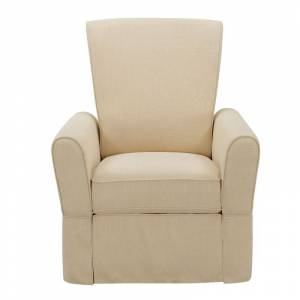 "Delacora HM-DS-A728-006-1109 33"" Wide Wood Framed Standard Manual Swivel Gliding Recliner Oatmeal Beige Indoor Furniture Chairs Recliner"