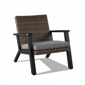 """Real Flame 1120 Norwood 28"""" Wide 2 Piece Aluminum Framed Polyurethane Upholstered Outdoor Arm Chair Set Black / Brown / Gray Outdoor Furniture Chairs  - Black,Brown,Gray"""