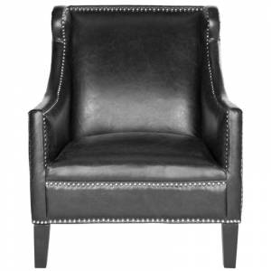 Safavieh MCR4735 McKinley Club Chair Antique Black Indoor Furniture Chairs Accent  - Antique Black