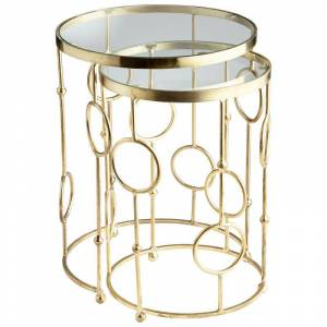 Cyan Design Perseus Nesting Tables Perseus 18.25 Inch Diameter Iron and Glass Nesting Table Made in India Brass Indoor Furniture Tables Accent  - Brass