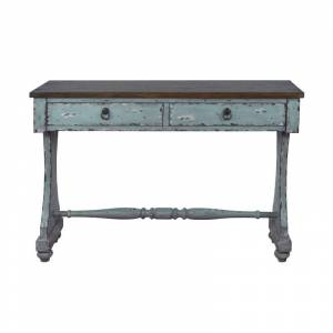 """Delacora HM-DS-D229-100 Darby 16"""" Wide Wood Top Wood Console Table River Blue Indoor Furniture Tables Console/Sofa  - River Blue"""