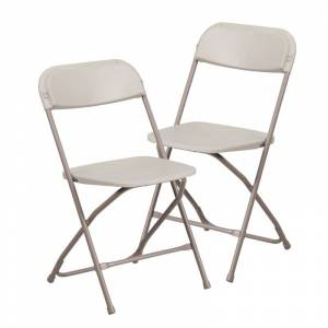 """Delacora FF-LE-L-3-GG Hercules 17-1/2"""" Wide Metal Framed Foldable Occasional Chairs - Set of (2) Cream Indoor Furniture Chairs Occasional  - Cream"""