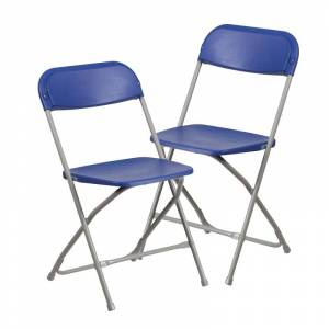 """Delacora FF-LE-L-3-GG Hercules 17-1/2"""" Wide Metal Framed Foldable Occasional Chairs - Set of (2) Blue Indoor Furniture Chairs Occasional  - Blue"""