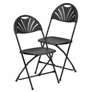 Delacora FF-LE-L-4-GG Hercules 17-1/2 Inch Wide Metal Framed Foldable Occasional Chair - Set of (2) Black Indoor Furniture Chairs Occasional