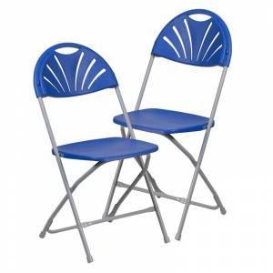 Delacora FF-LE-L-4-GG Hercules 17-1/2 Inch Wide Metal Framed Foldable Occasional Chair - Set of (2) Blue Indoor Furniture Chairs Occasional