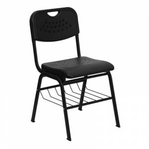 Delacora FF-RUT-GK01-BAS-GG Hercules 16-1/4 Inch Wide Metal Framed Classroom Chair with Bottom Shelving Black Indoor Furniture Chairs Occasional  - Black