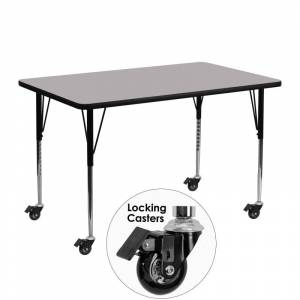 Delacora FF-XU-A2448-REC-T-A-CAS-GG 48 Inch Wide Steel Framed Wood Top Adjustable Activity Table with Locking Casters Gray Indoor Furniture Tables