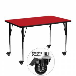 Delacora FF-XU-A2448-REC-H-A-CAS-GG 48 Inch Wide Steel Framed Wood Top Adjustable Activity Table with Locking Casters Red Indoor Furniture Tables