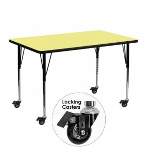Delacora FF-XU-A2448-REC-T-A-CAS-GG 48 Inch Wide Steel Framed Wood Top Adjustable Activity Table with Locking Casters Yellow Indoor Furniture Tables