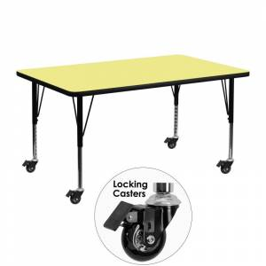 Delacora FF-XU-A2448-REC-T-P-CAS-GG 48 Inch Wide Steel Framed Wood Top Adjustable Activity Table with Locking Casters Yellow Indoor Furniture Tables