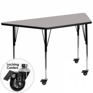 Delacora FF-XU-A2448-TRAP-H-A-CAS-GG 25-1/2 Inch Wide Steel Framed Wood Top Adjustable Activity Table with Locking Casters Gray Indoor Furniture