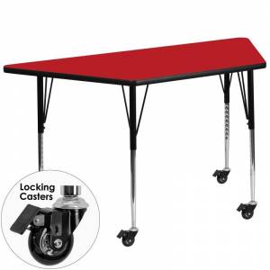 Delacora FF-XU-A2448-TRAP-H-A-CAS-GG 25-1/2 Inch Wide Steel Framed Wood Top Adjustable Activity Table with Locking Casters Red Indoor Furniture Tables