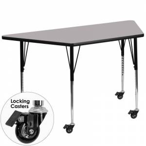 Delacora FF-XU-A3060-TRAP-T-A-CAS-GG 26-1/4 Inch Wide Steel Framed Wood Top Adjustable Activity Table with Locking Casters Gray Indoor Furniture