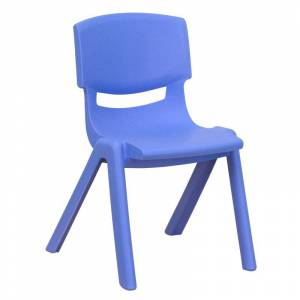 Delacora FF-YU-YCX-001-GG 13-1/4 Inch Wide Plastic Framed Classroom Chair Blue Indoor Furniture Chairs Occasional  - Blue
