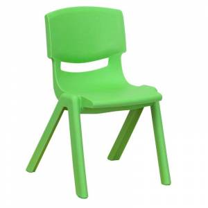 Delacora FF-YU-YCX-001-GG 13-1/4 Inch Wide Plastic Framed Classroom Chair Green Indoor Furniture Chairs Occasional  - Green