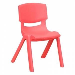 Delacora FF-YU-YCX-001-GG 13-1/4 Inch Wide Plastic Framed Classroom Chair Red Indoor Furniture Chairs Occasional