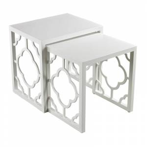 Elk Home 136-007/S2 Gloss White Nesting Table - Set of Two Matt White Indoor Furniture Tables Accent