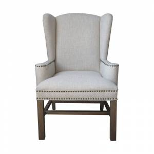 """Elk Home 6525301 Allcott 28"""" Wide Wood Framed Linen Arm Chair Toffee Indoor Furniture Chairs Dining  - Toffee"""