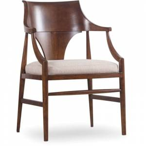 Hooker Furniture 5398-75400 34 Inch Tall Fabric Dining Chair from the Studio 7H Collection Mid-Century Modern Walnut Indoor Furniture Chairs Dining  - Mid-Century Modern Walnut
