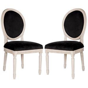 Safavieh FOX6228-SET2 Holloway 19.8 Inch Wide Rubberwood Accent Chairs (Set of 2) Black / Rustic Grey Indoor Furniture Chairs Dining  - Black,Rustic Grey