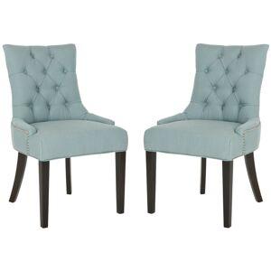 Safavieh MCR4701-SET2 Abby 22 Inch Wide Birch Accent Chairs (Set of 2) Sky Blue / Espresso Indoor Furniture Chairs Dining  - Sky Blue,Espresso