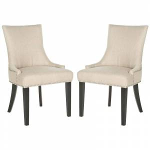Safavieh MCR4709A-SET2 Lester 22 Inch Wide Birch Dining Chairs (Set of 2) Antique Gold / Espresso Indoor Furniture Chairs Dining  - Antique Gold,Espresso