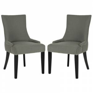 Safavieh MCR4709-SET2 Lester 22 Inch Wide Oak Dining Chairs (Set of 2) Gray / Espresso Indoor Furniture Chairs Dining  - Gray,Espresso